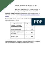 Anunt Practica Licenta ID Studenti