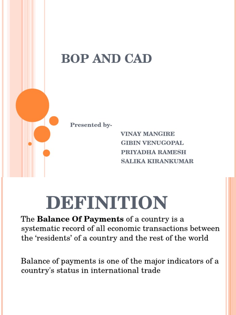 bop and cad | current account | balance of payments
