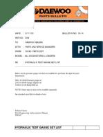 Pb03-14 Hyd Test Guage Test List Doosan