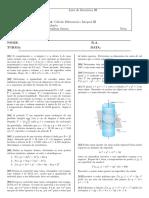 Lista de Exercícios III -  Cálculo Diferencial e Integral III