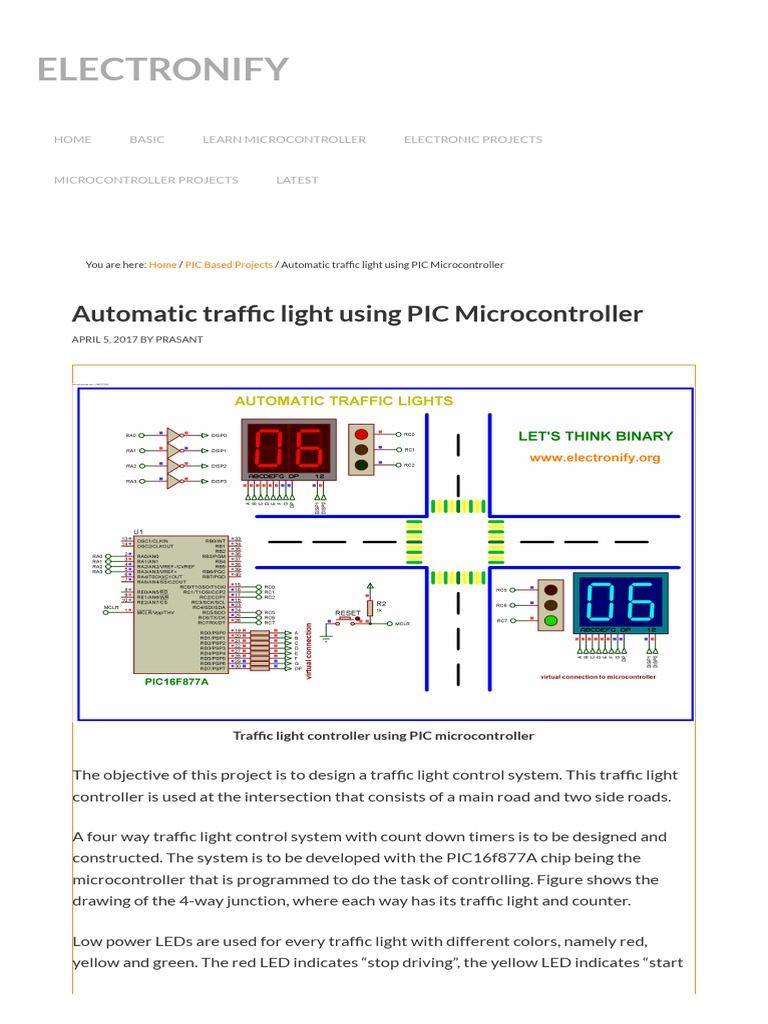 Automatic Traffic Light Using PIC Microcontroller Code , Circuit
