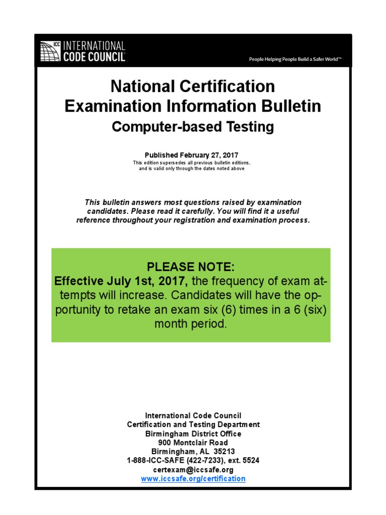 National Certification Examination Information Bulletin Test