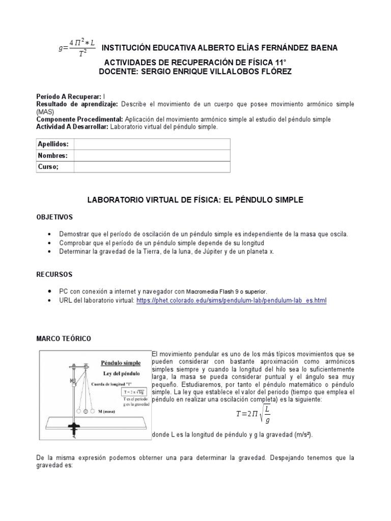 Laboratorio Virtual Pendulo Simple