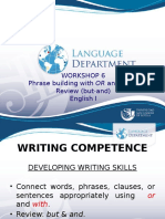 English 1-Writing Workshop 6- Connectors