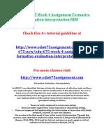 ASH EDU 675 Week 4 Assignment Formative Evaluation Interpretation NEW