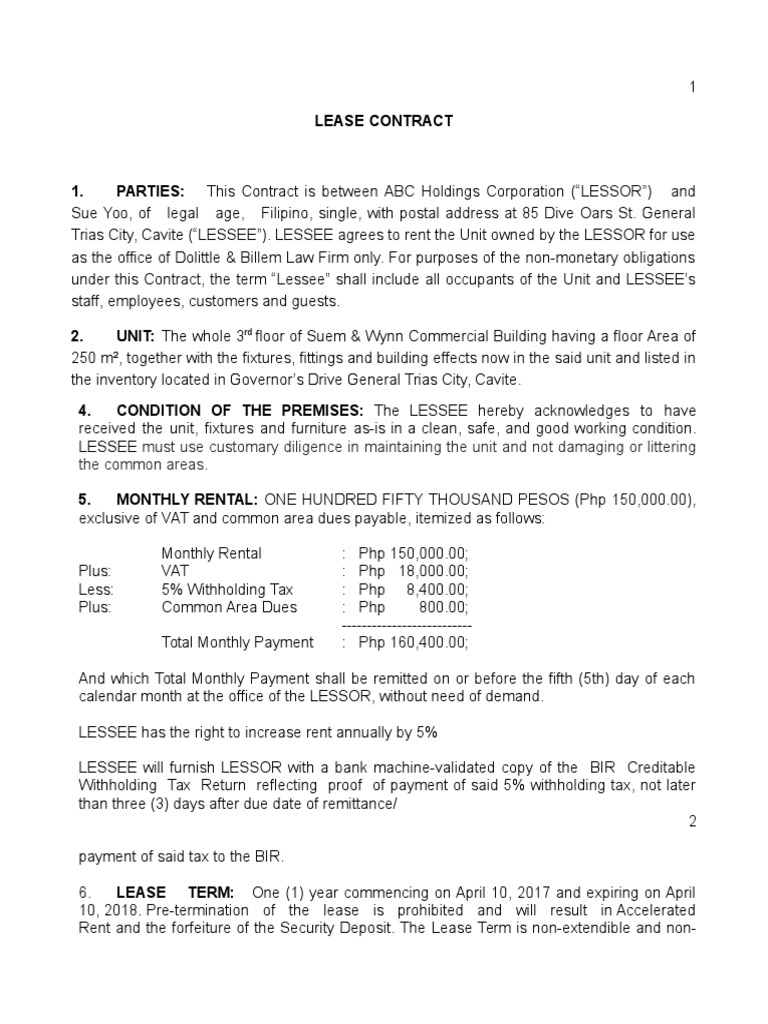 Sample Contract Of Lease Lease Government Information