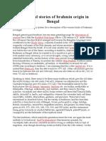 Brahmin Origin in Bengal