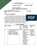 Phonetics Course Syllabus