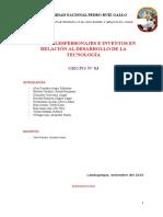 Principales personajes e Inventos en Relación Al Desarrollo de La Tecnología