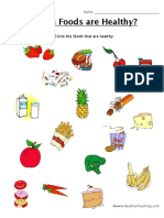Which Foods Are Healthy Worksheet