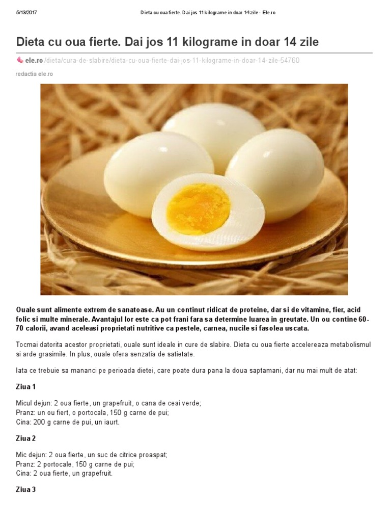Dieta cu ouă fierte: slăbeşti 11 kg în 14 zile! Meniu pe 2 săptămâni