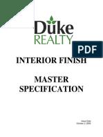Interior Finish Master Specification