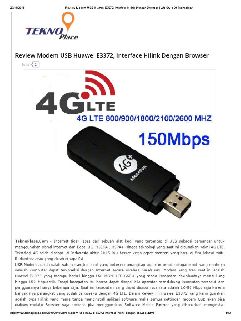Review Modem USB Huawei E3372, Interface Hilink Dengan
