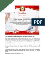 Cara Membuat Sertifikat Menggunakan Microsoft Office Word 2007