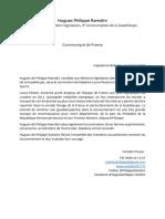 Communiqué de presse de Hugues dit Philippe Ramdini relatif à la nomination des membres du gouevernement