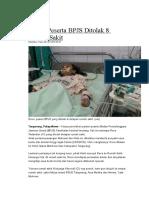 Pasien Peserta BPJS Ditolak 8 Rumah Sakit