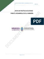 Política de Estado Para El Desarrollo de La Minería en La Provincia de Mendoza