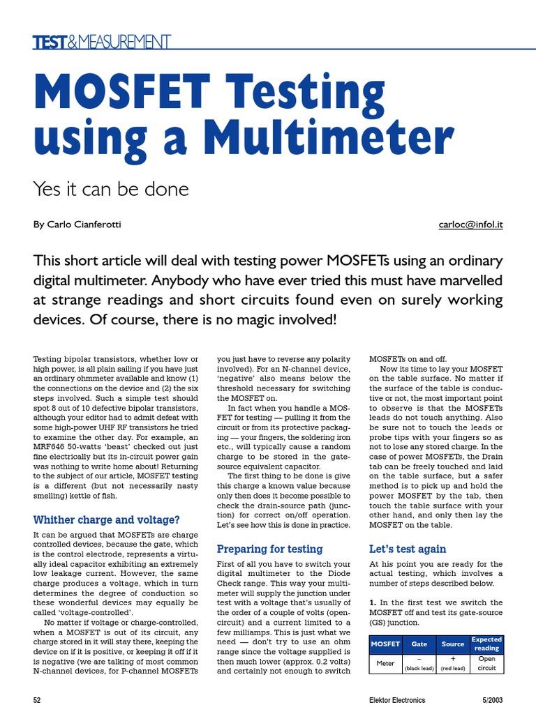 Mosfet Testing1pdf Field Effect Transistor Testing Circuit