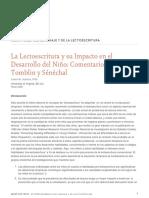 La Lectoescritura y Su Impacto en El Desarrollo Del Nino Comentarios Sobre Tomblin y Senechal