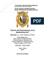 Inicios Del Pensamiento en La Administración (Monografía)