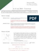 INSA Toulouse 1A Mecanique Du Point Examen Mai 2010 Correction