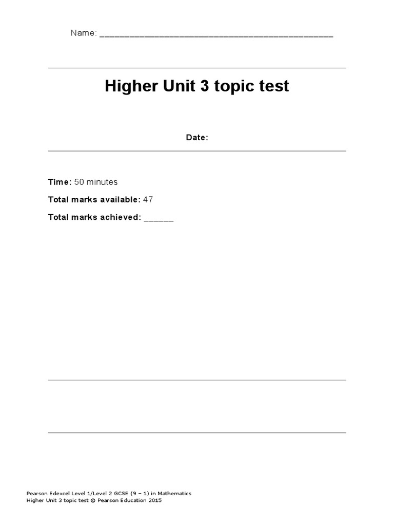 Higher Unit 3 Topic Test | Scatter Plot | Test (Assessment)