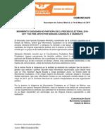 MOVIMIENTO CIUDADANO EDO. DE MÉXICO NO PARTICIPA EN EL PROCESO ELECTORAL 2016- 2017 Y NO PIDE APOYO POR NINGUNA CANDIDATA O CANDIDATO