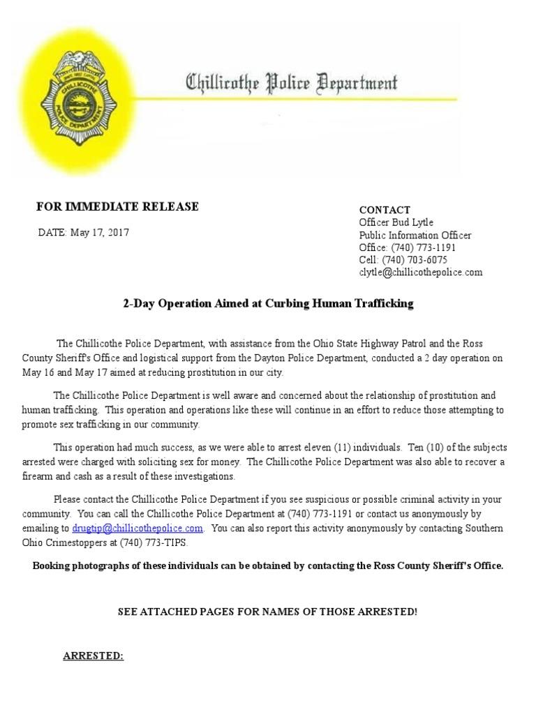 Human Trafficking Press Release | Human Trafficking | Police