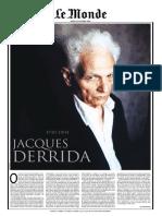 Le Monde Jacques Derrida Un Homage