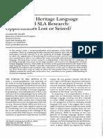 Bilingualism, Heritage Language Learners, And SLA Research Opportunities Lost or Seized, De Guadalupe Valdés (Artigo)