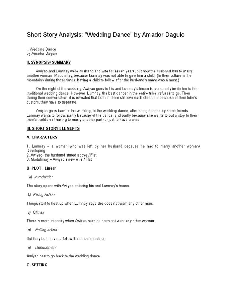 Short Story Analysis Narration Dances