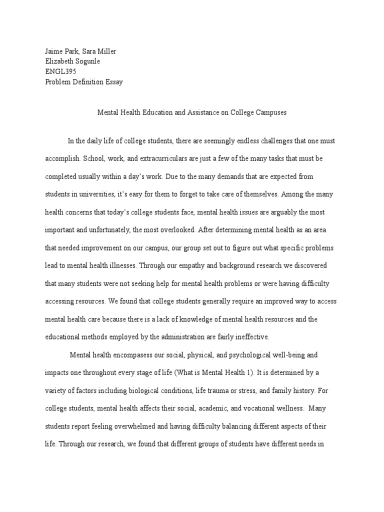 Essay Writing Examples English  English Essay Speech also Easy Essay Topics For High School Students Problem Definition Essay Team   Mental Health  Social Stigma Essays On Science Fiction