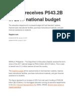 Deped 2017 Budget