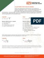 Valve Cv Flow Rate Formlae
