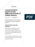 Administration System in the Different Periods of Indian Histor