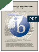 Ib Economics Hl Sl Extended Essay