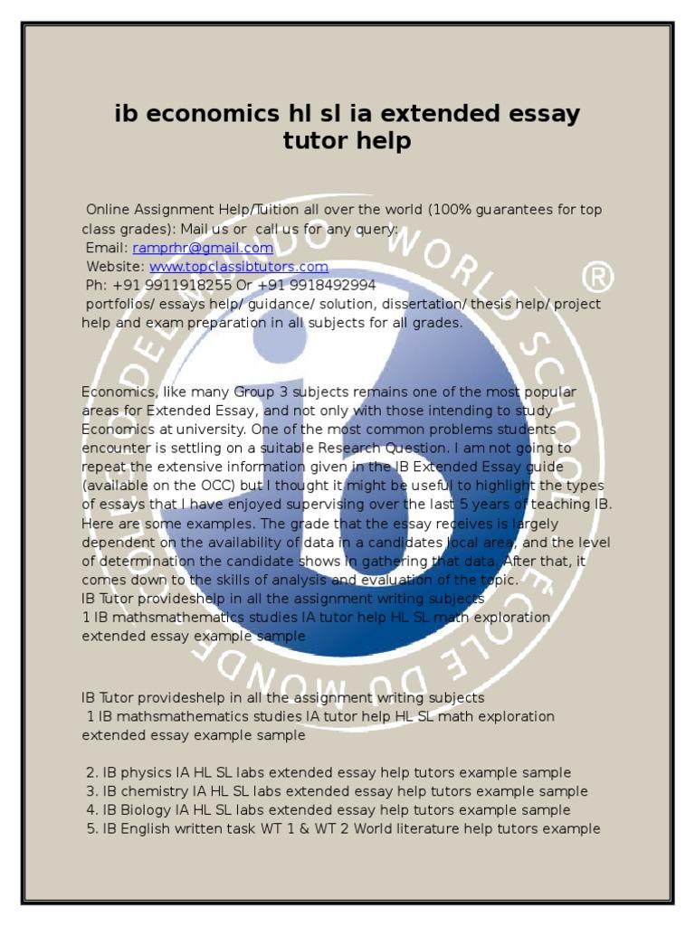 ib economics hl sl extended essay thesis tutor