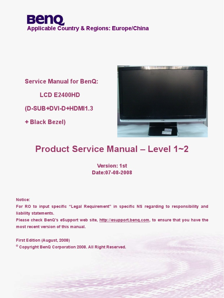 benq e2400hd monitor lcd display resolution computer monitor rh scribd com 3-Way Switch Wiring Diagram Wiring Diagram Symbols