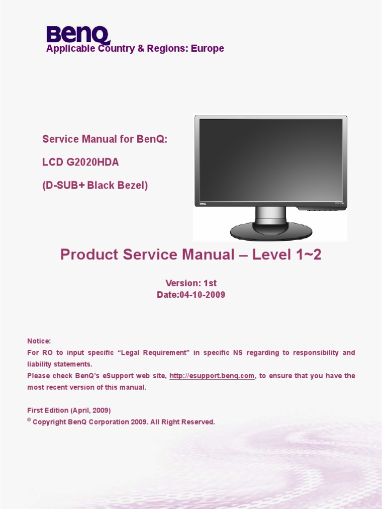 benq g2020hda monitor lcd computer monitor display resolution rh es scribd com