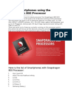 List of Smartphones Using the Snapdragon 800 Processor