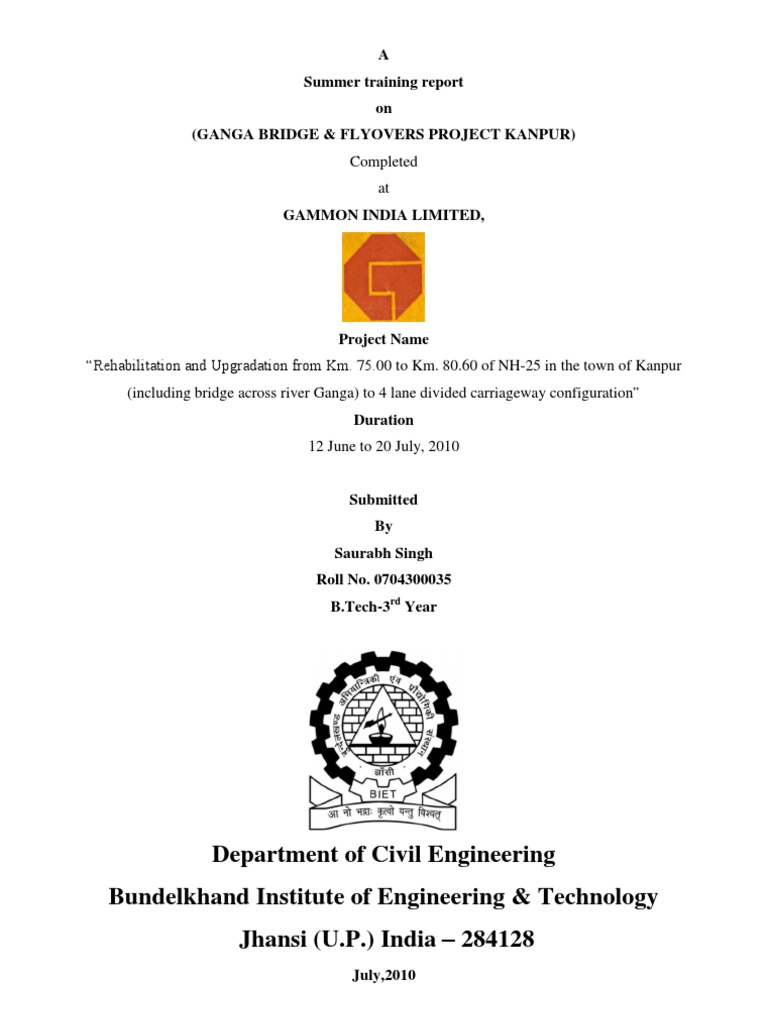 Major project front page certificate acknowledgement format training report front page yadclub Image collections