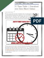 Latest AKTU Time Table | Download Even Semester Date Sheet Online