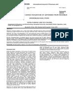 Isolation and Characterization of Saponins From Moringa Oleifera