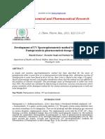 Development of UV Spectrophotometric Method for Estimation of Pantoprazole in Pharmaceutical Dosage Forms