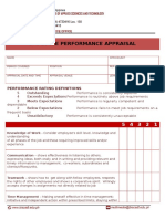 Sample Appraisal Form for Employees