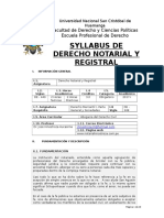 Syllabus  Derecho Notarial 2017 - UNSCH- Ayacucho