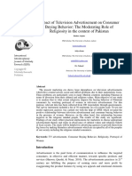 Impact of Television Advertisement on Consumer Buying Behavior the Moderating Role of Religiosity in the Context of Pakistan