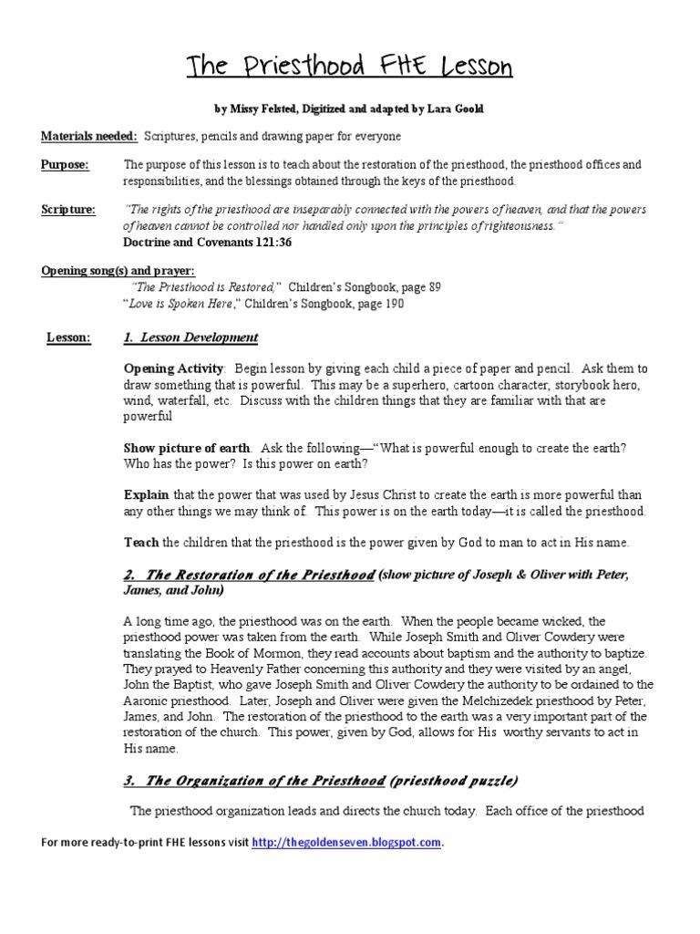 The Priesthood FHE Lesson | Restoration (Latter Day Saints