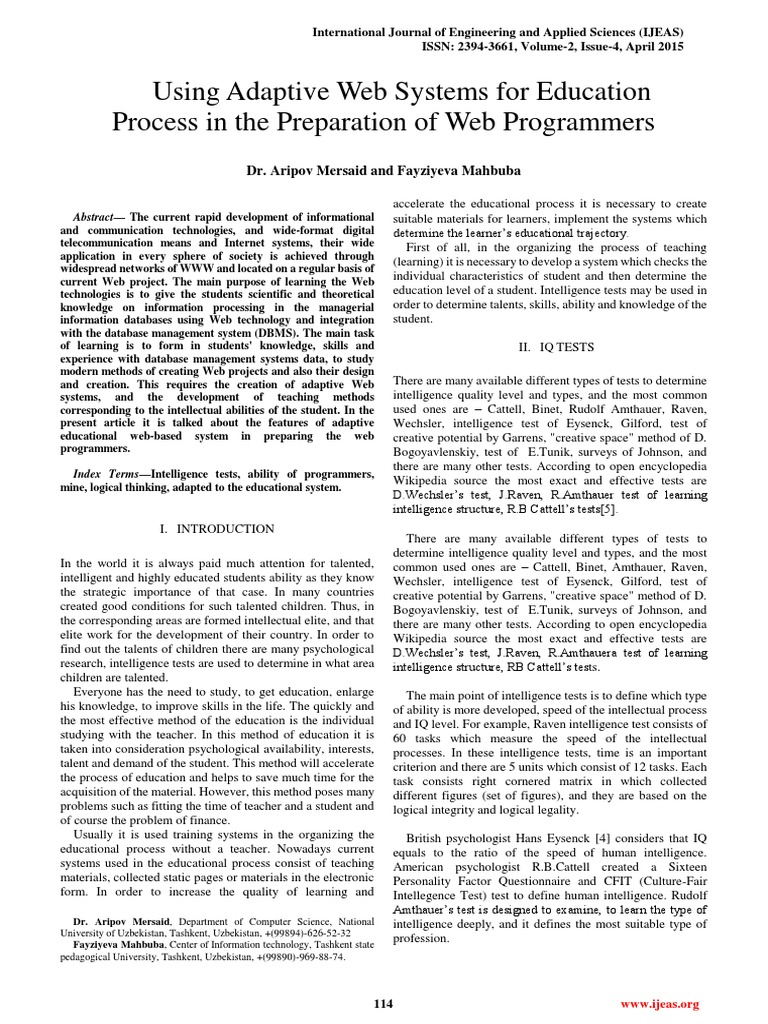 IJEAS0204055 | Intelligence Quotient | Intelligence