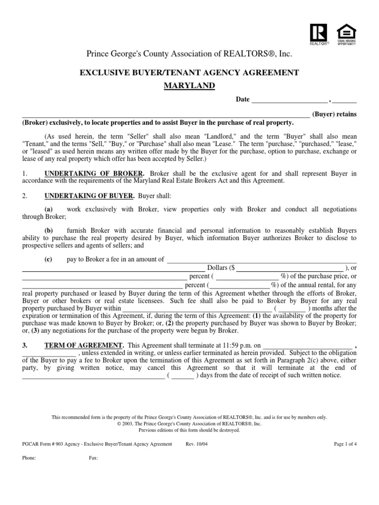 Exclusive Buyer Agency Agreement Real Estate Broker Law Of Agency
